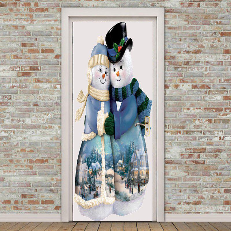 Affordable Environmental Removable Snowman Couples Printed Door Stickers