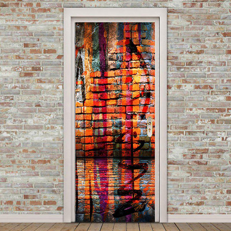 Best Home Decor Colorful Bricks Wall Patterned Door Stickers
