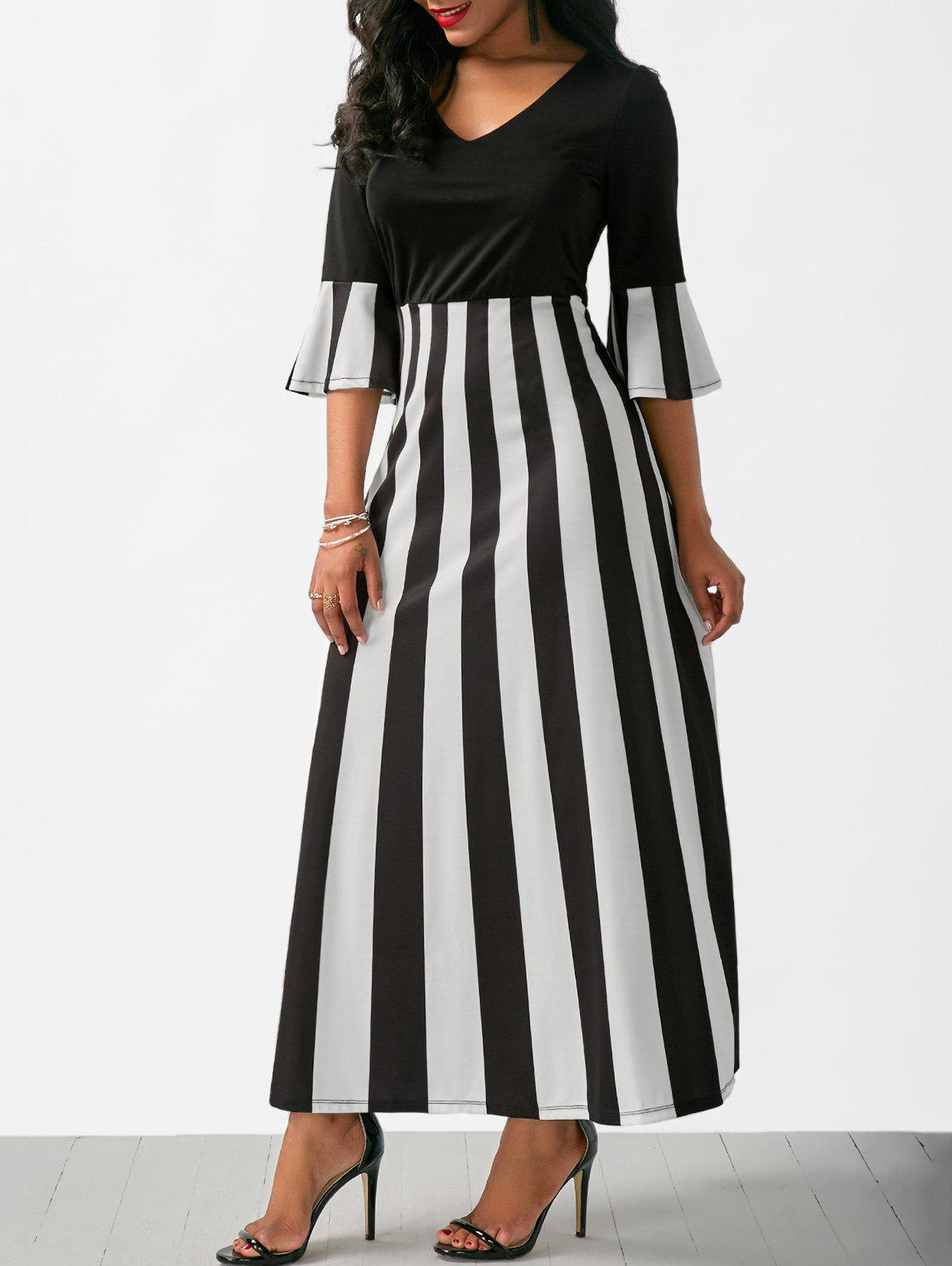 New V Neck Flare Sleeve Striped Long Dress