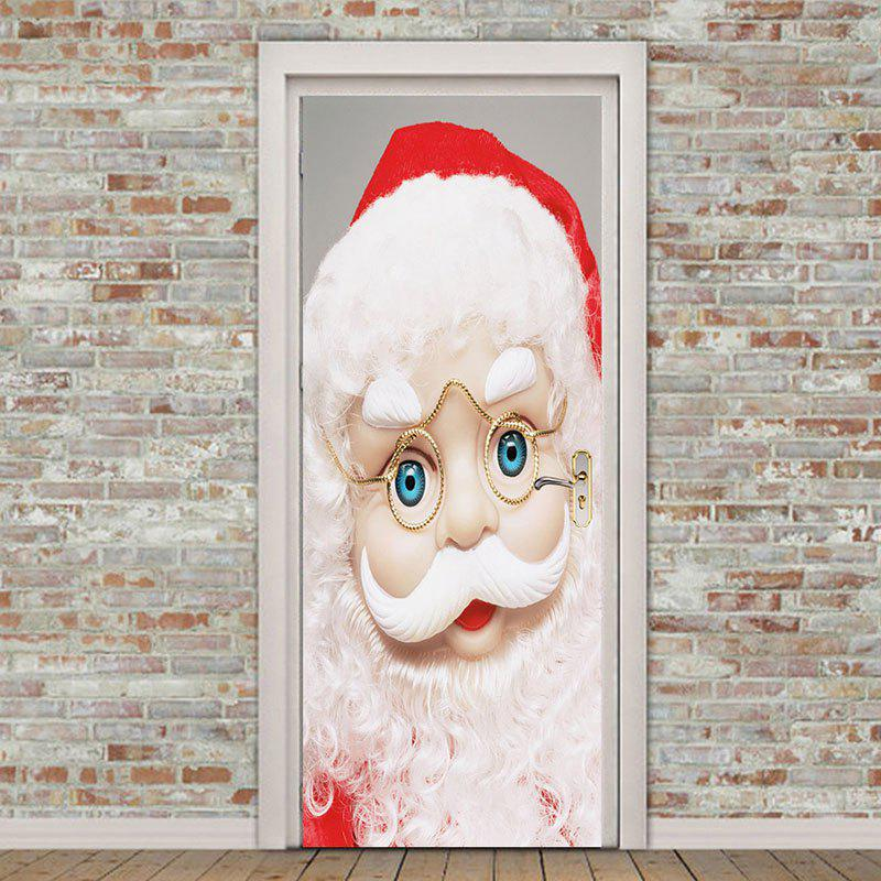 Chic Eyeglasses Santa Claus Pattern Environmental Removable Door Stickers