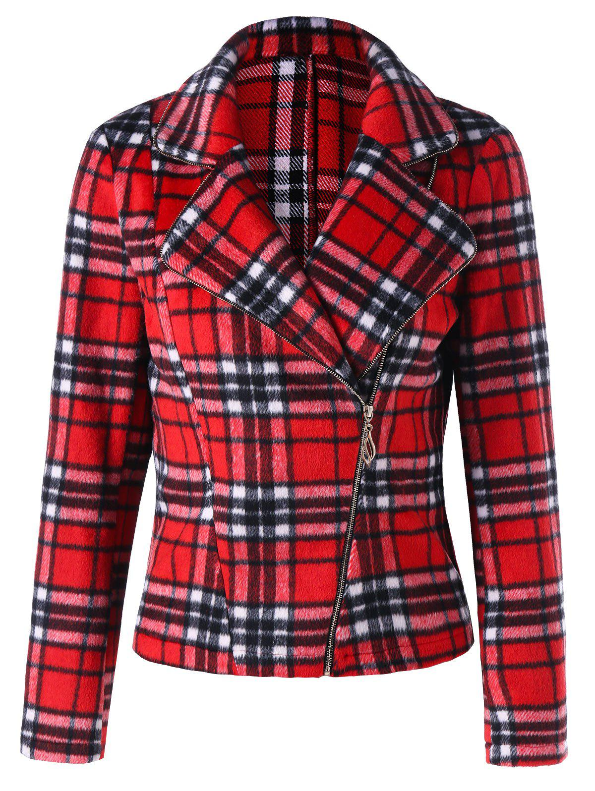 Store Lapel Skew Zipper Plaid Jacket