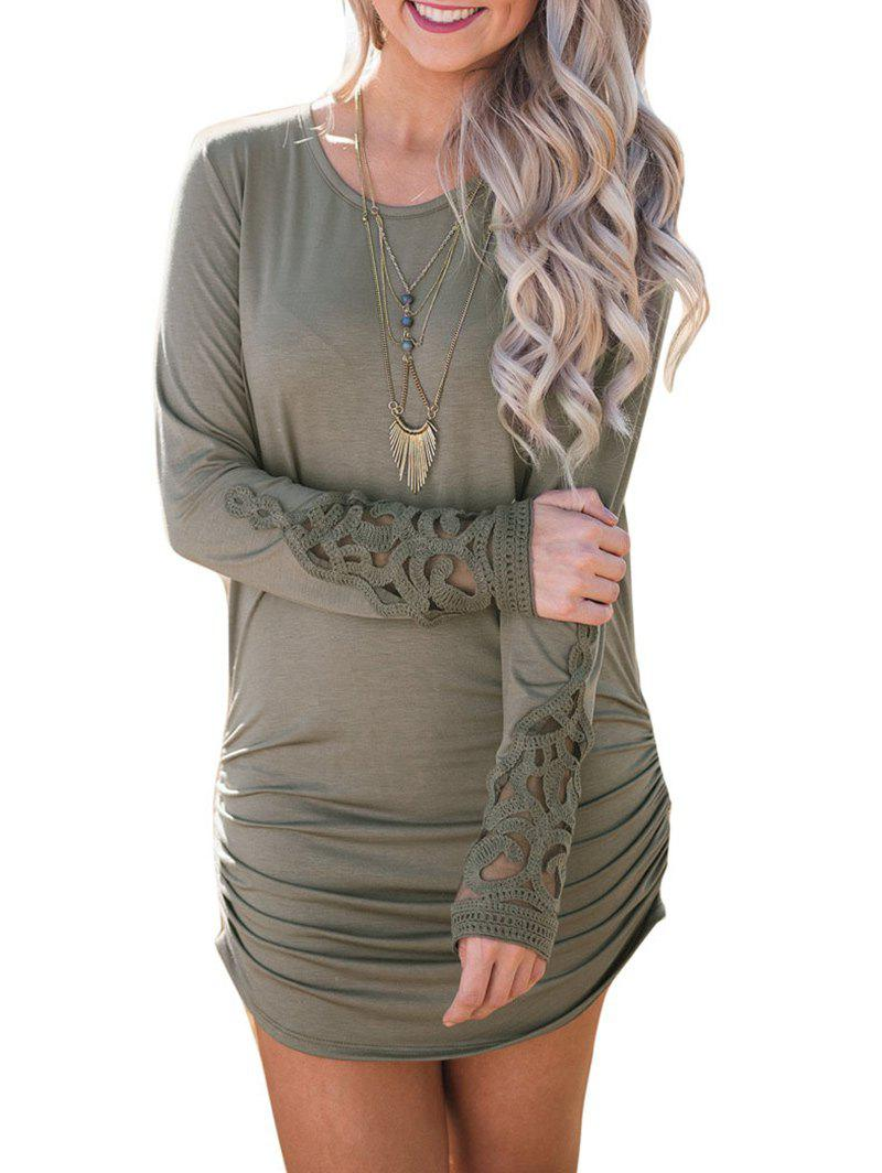 Online Crochet Insert Long Sleeve Ruched Dress