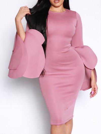 Outfits Flared Layered Sleeve Bodycon Pencil Dress