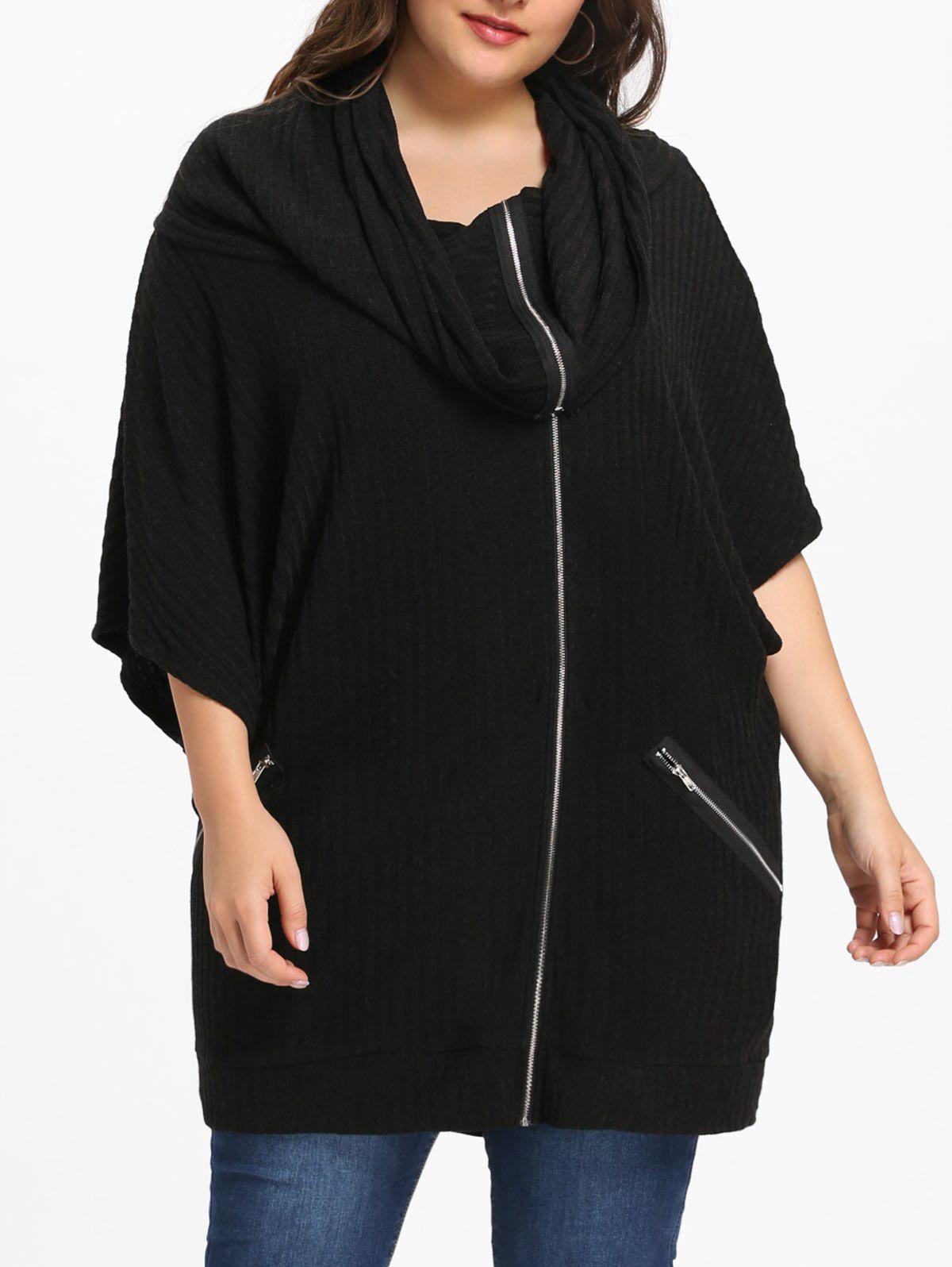 Discount Plus Size Batwing Sleeve Hooded Coat