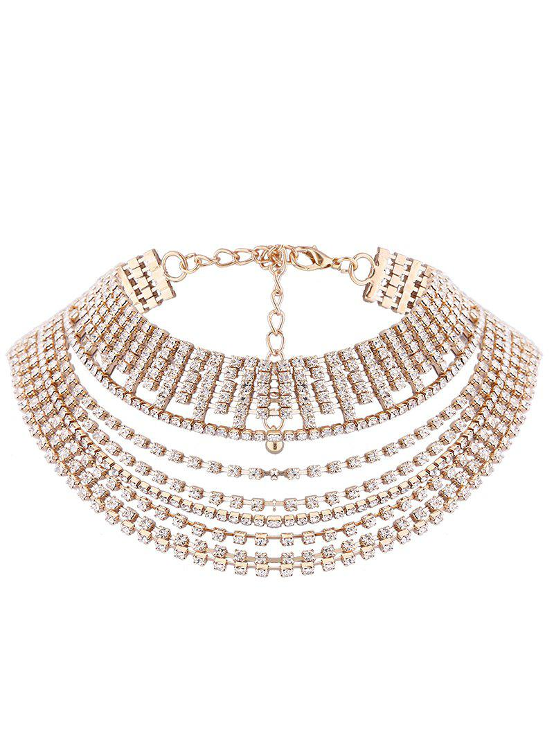 Trendy Multilayered Rhinestone Metallic Chokers Necklace