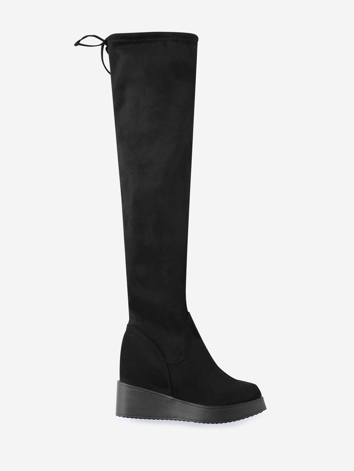 Buy Wedge Heel Tie Back Over The Knee Boots