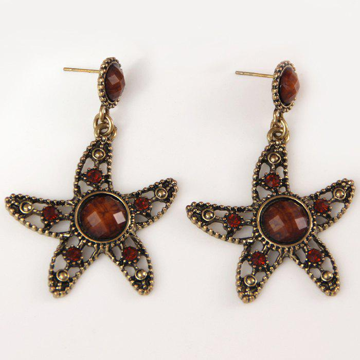 Outfit Starfish Hollow Out Faux Diamond Drop Earrings