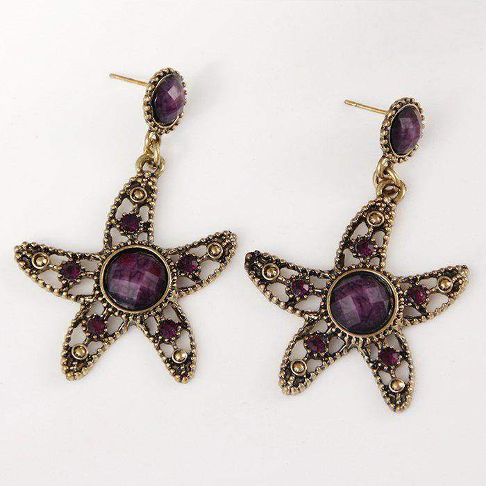 Online Starfish Hollow Out Faux Diamond Drop Earrings