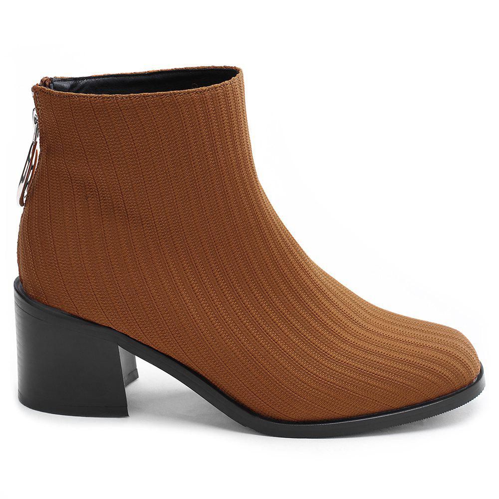 Fancy Chunky Heel Metal Ring Ribbed Boots