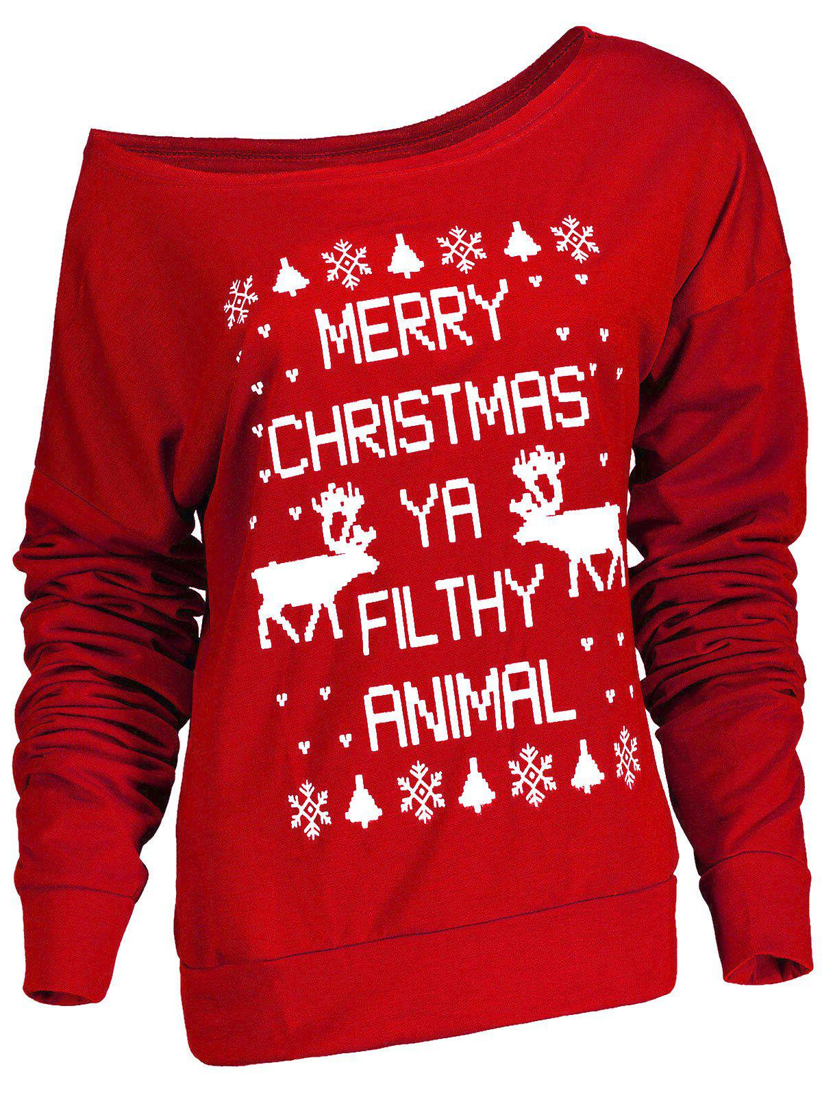Fresh Style Letter and Snowflake Print Pullover Christmas Sweatshirt For WomenWOMEN<br><br>Size: S; Color: RED; Material: Polyester; Shirt Length: Regular; Sleeve Length: Full; Style: Fashion; Pattern Style: Print; Weight: 0.380kg; Package Contents: 1 x Sweatshirt;