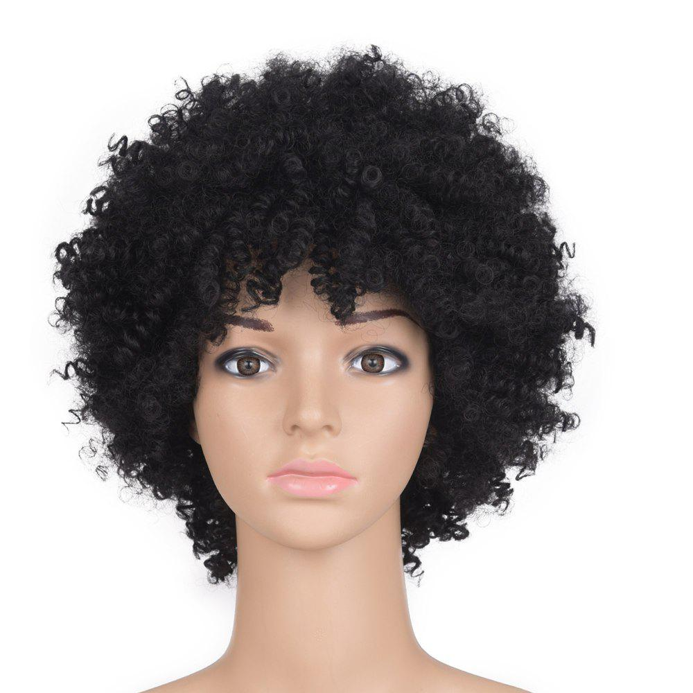 Best Medium Side Bang Fluffy Afro Kinky Curly Synthetic Wig
