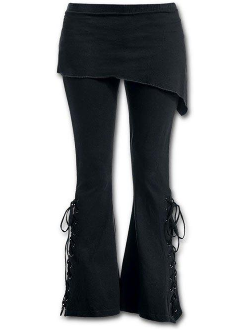 Store Skirted Lace-up Flare Pants