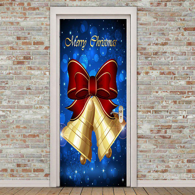 Sale Bowknot Bell Pattern Christmas Door Art Stickers