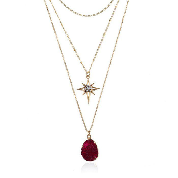 Best Layered Natural Stone Geometric Star Necklace