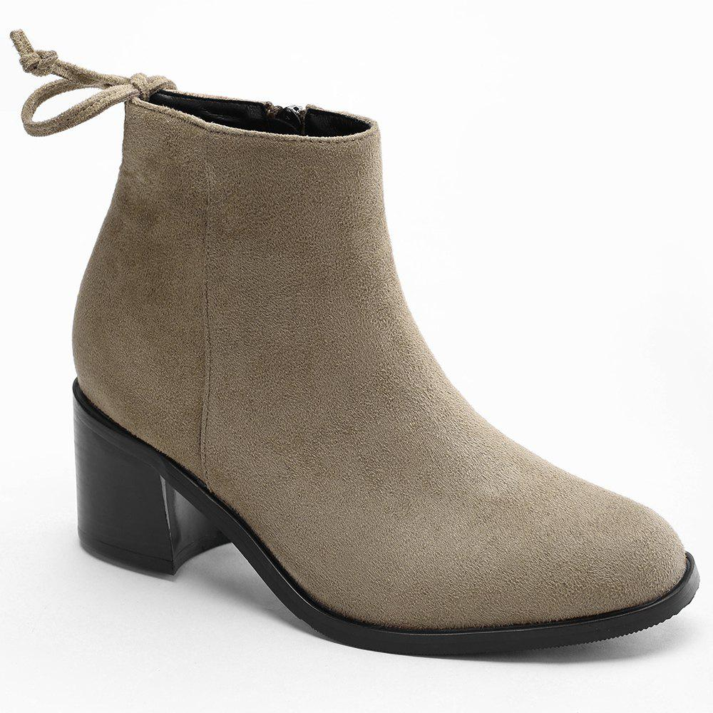 Fashion Knotted Back Chunky Heel Ankle Boots