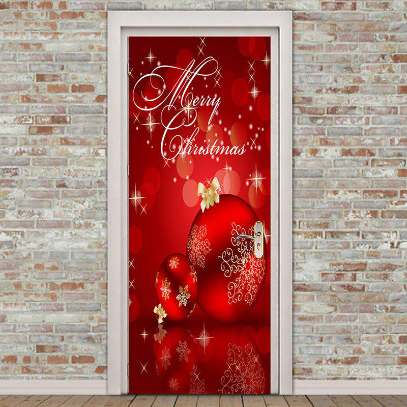 Discount Red Christmas Balls Pattern Environmental Removable Door Stickers