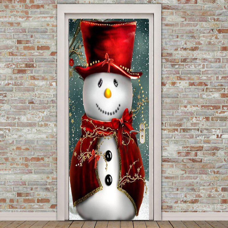 Store Environmental Removable Snowman Magician Printed Christmas Door Stickers