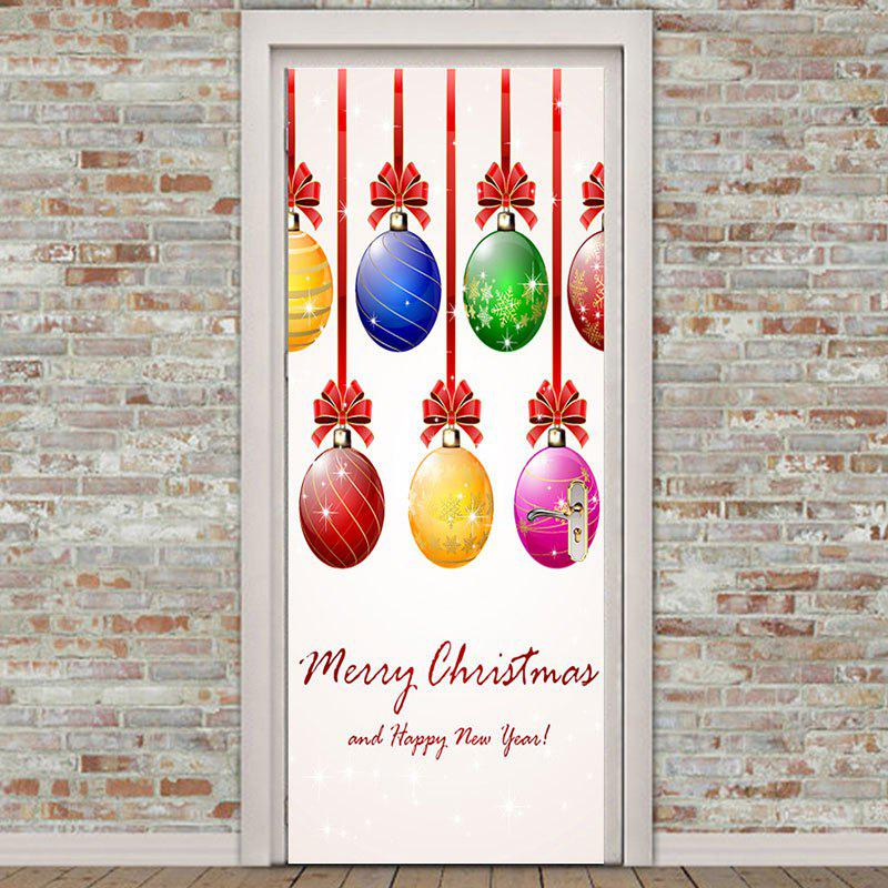 Unique Environmental Removable Colorful Christmas Balls Printed Door Stickers
