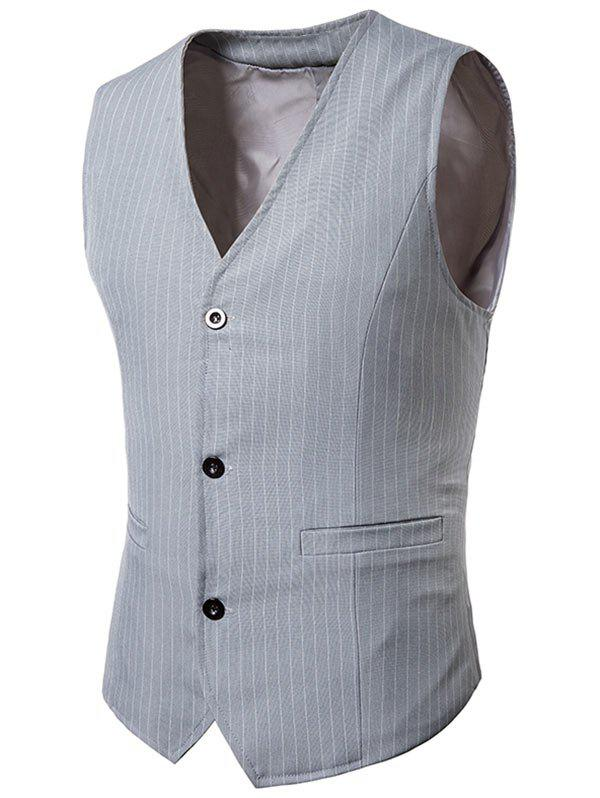 Fashion V Neck Single Breasted Vertical Stripes Waistcoat