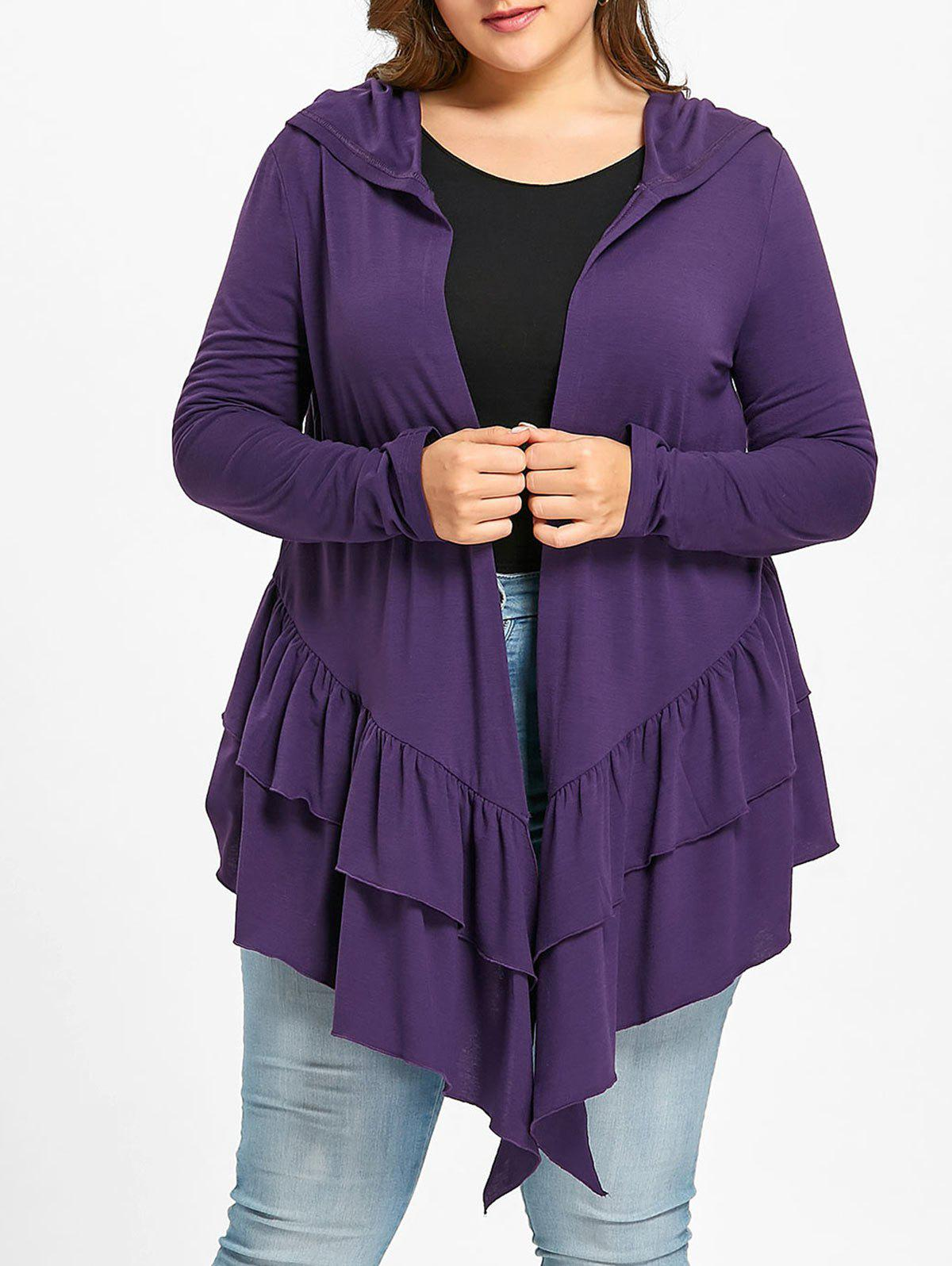 Fancy Plus Size Ruffle Open Front Hooded Cardigan