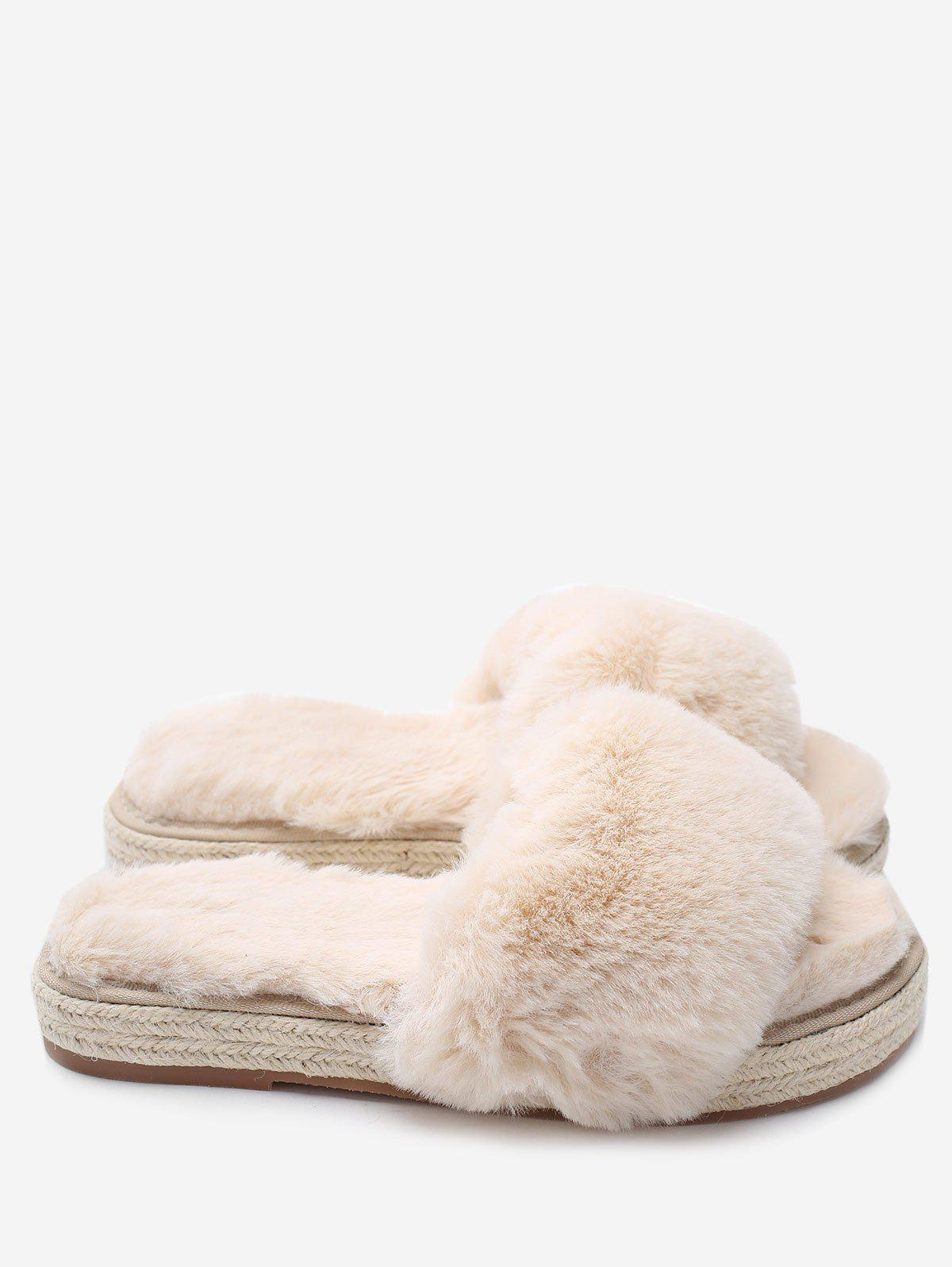 Fashion Faux Fur Strap Espadrille Sole Indoor Slippers