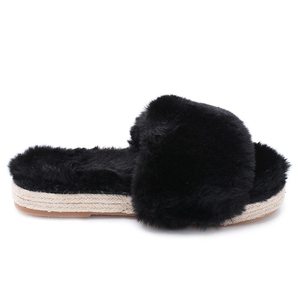 Chic Faux Fur Strap Espadrille Sole Indoor Slippers