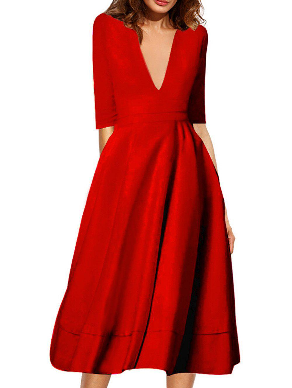 Best Plunging Neck Flare Midi Vintage Dress
