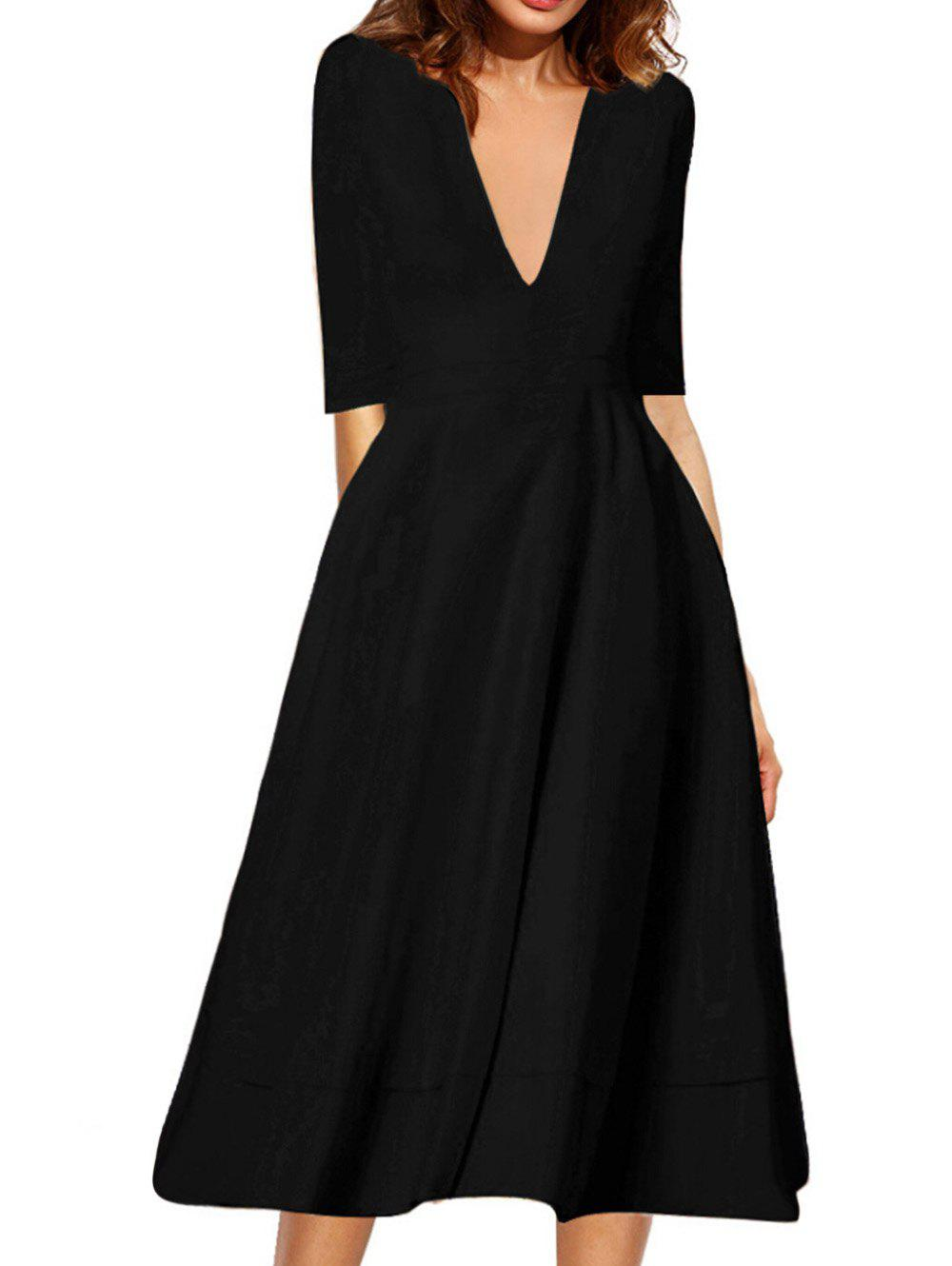 Chic Plunging Neck Flare Midi Vintage Dress
