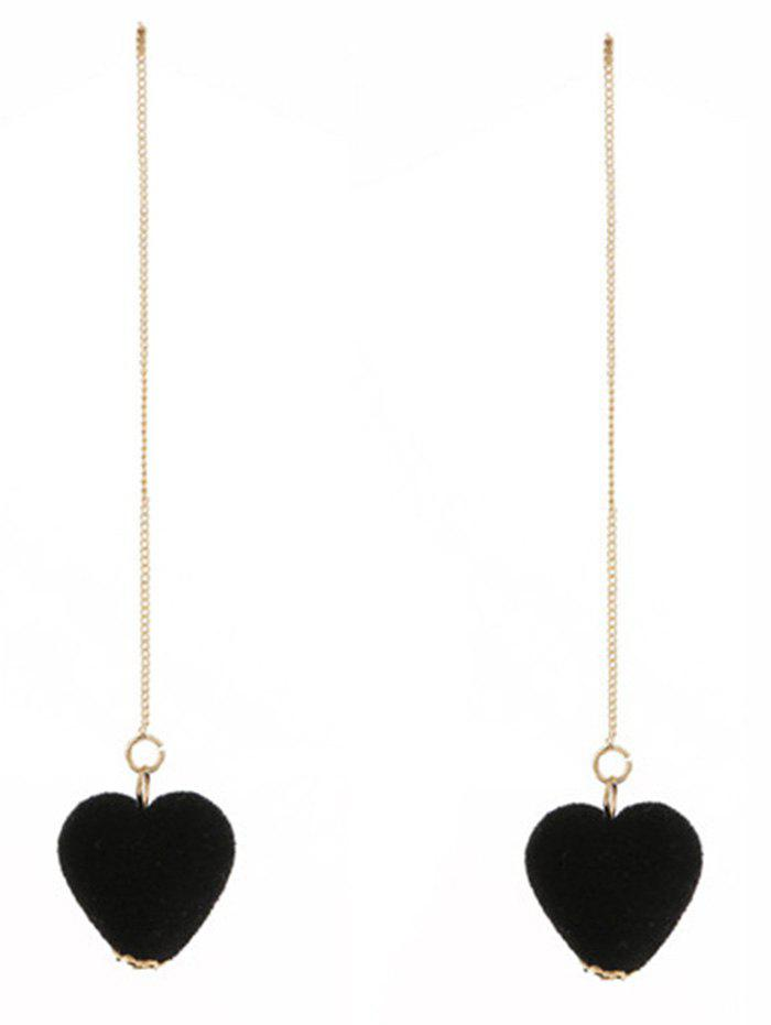 Outfits Velvet Heart Drop Chain Earrings