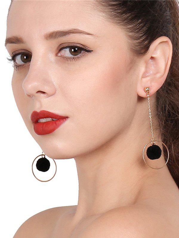 Outfits Metal Fuzzy Ball Chain Circle Earrings