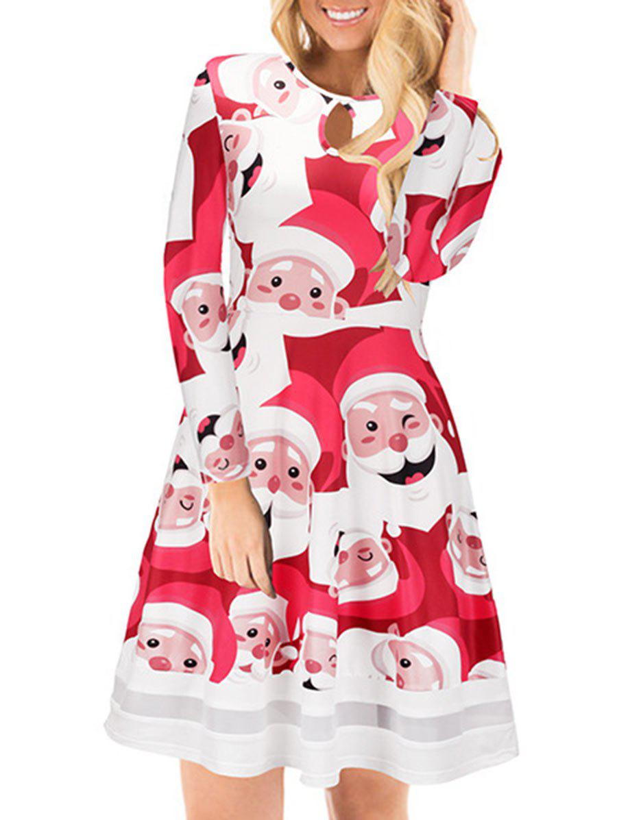 Trendy Christmas Santa Claus Print Keyhole Dress