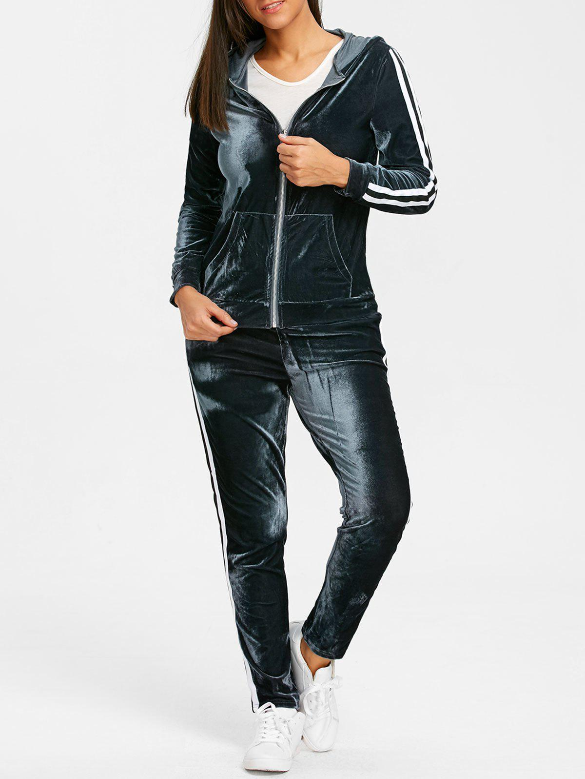 Cheap Striped Velvet Hooded Jacket and Drawstring Pants