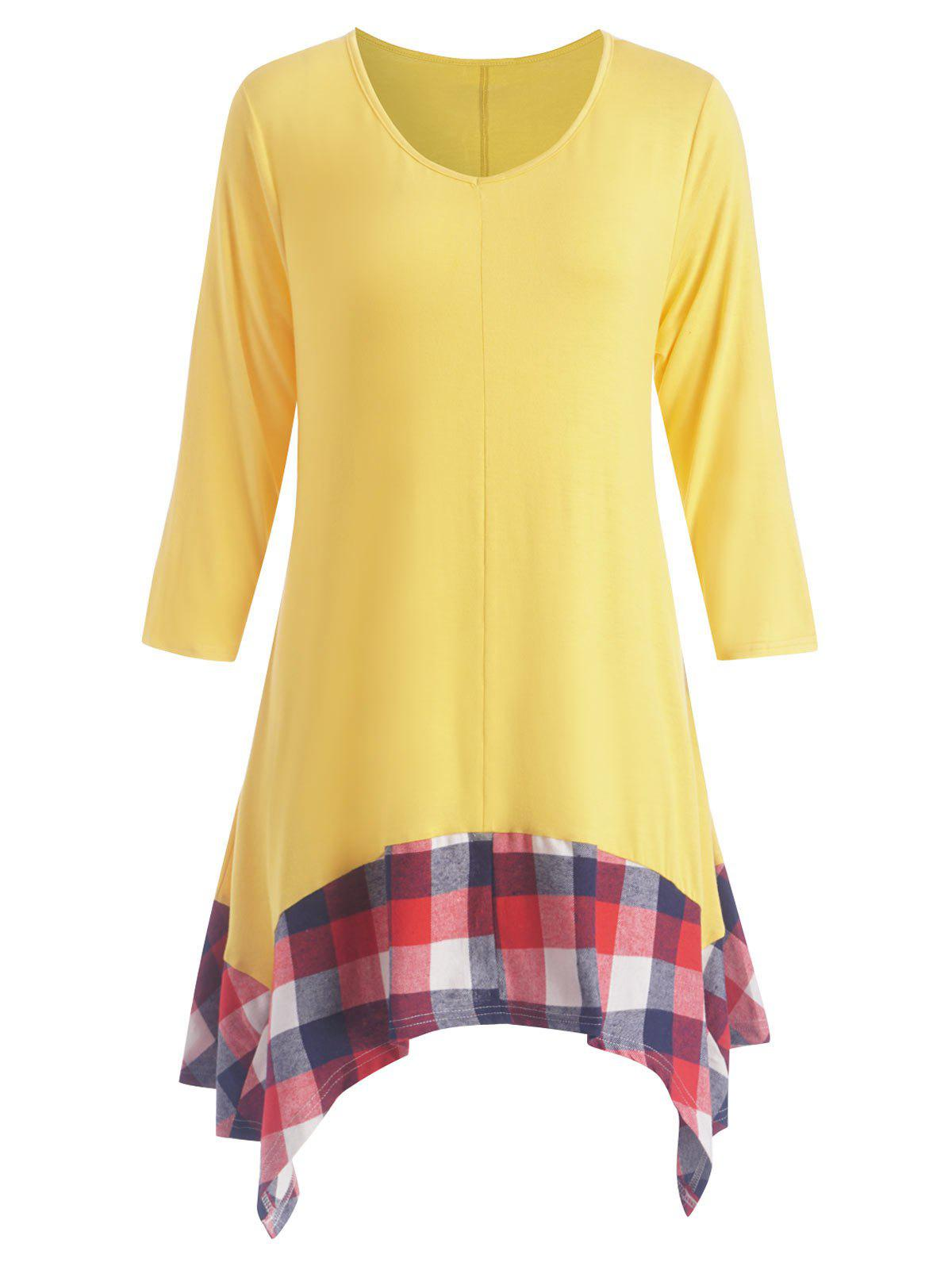 New Plus Size Asymmetric Plaid Panel Tunic Dress