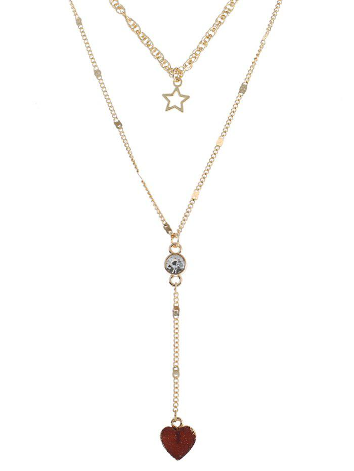 Outfits Layered Natural Stone Heart Star Necklace