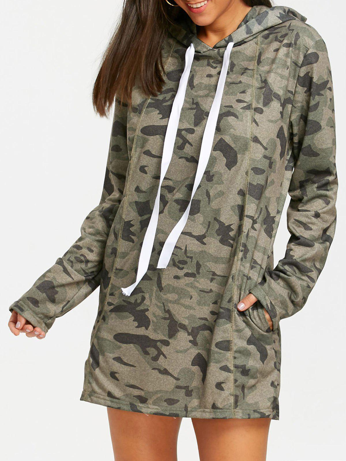 Cheap Exposed Seam Camo Hoodie Dress