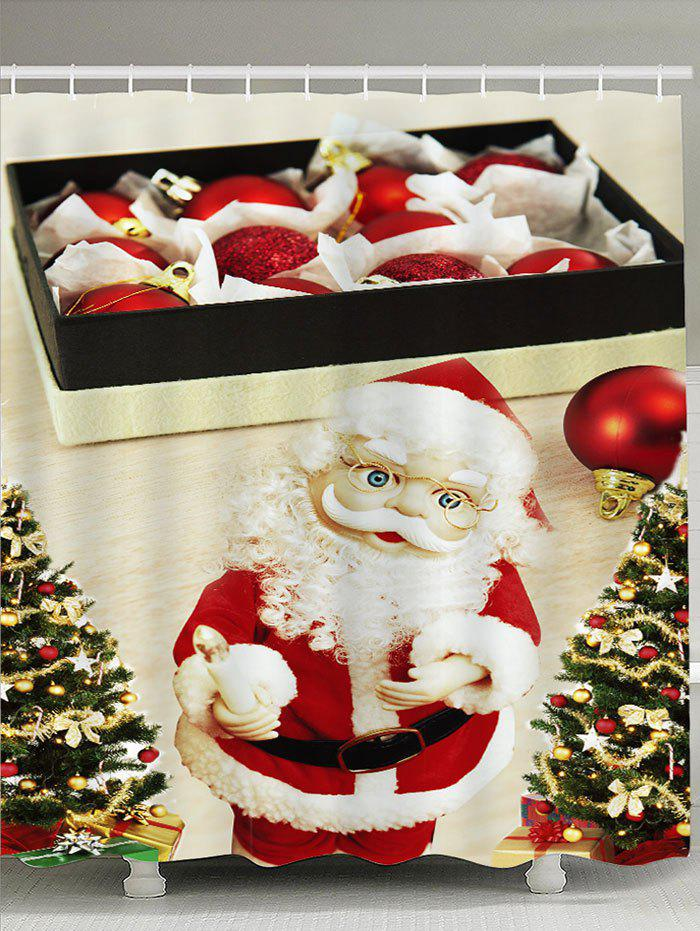 Latest Santa Claus with Glasses Pattern Waterproof Shower Curtain