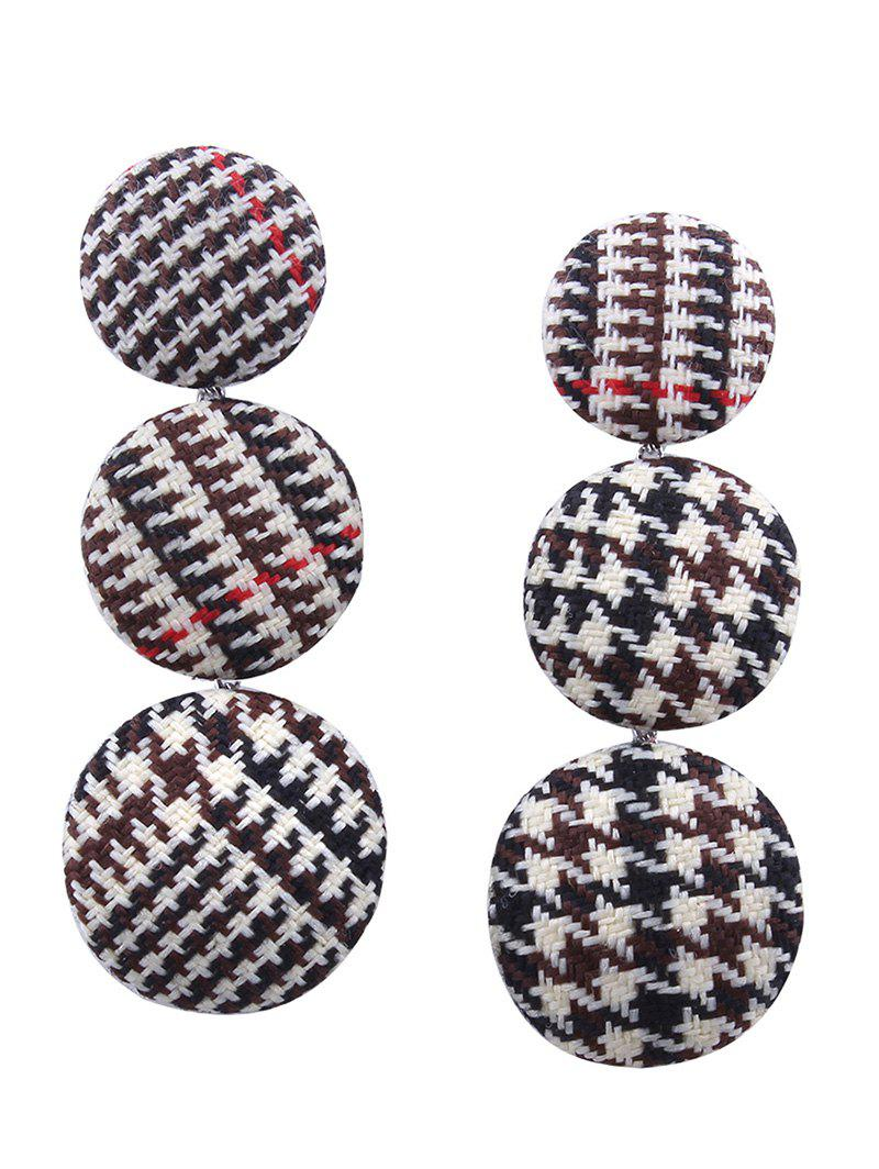 Chic Houndstooth Round Pattern Long Drop Earrings