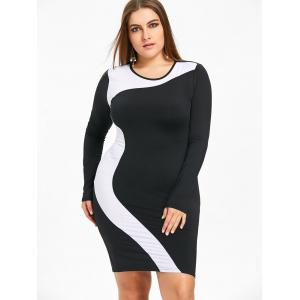 Robe T-shirt Moulante à Deux Tons Plus Size -