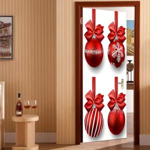 Environmental Removable Christmas Balls and Bowknots Pattern Door Stickers -