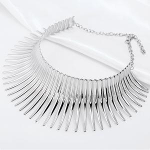 Fringed Metal Bar Choker Necklace -