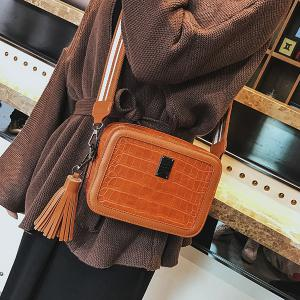 Stone Pattern Tassel Crossbody Bag -