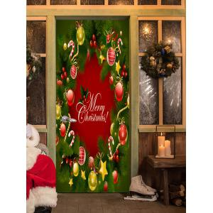 Christmas Pine Ornaments Pattern Door Cover Stickers -