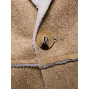 One Button Lapel Collar Suede Shearling Jacket -