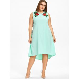 Floral Embroidered High Low Plus Size Dress -