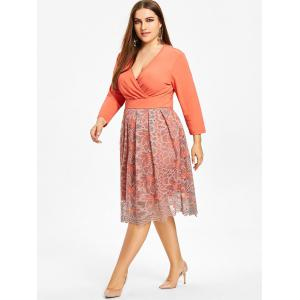 Plus Size Floral Lace Surplice Formal Dress -