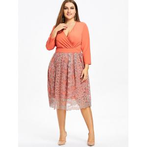 Robe Cache-Coeur Formelle Florale Grande Taille -