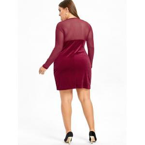 Velvet Mesh Panel Plus Size Bodycon Dress -