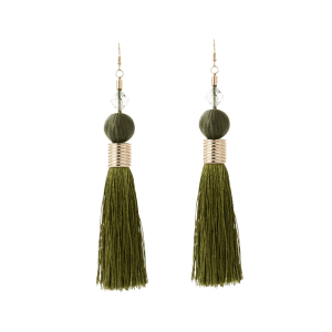 Faux Crystal Ball Tassel Earrings -