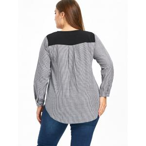 High Low Striped Plus Size Blouse -