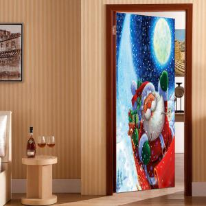 Santa Claus with Moon Printed Pattern Environmental Removable Door Stickers -